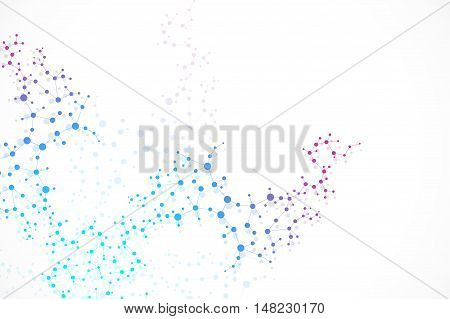 Structure molecule and communication Dna, atom, neurons. Science concept for your design. Connected blue lines with dots. Medical, technology, chemistry, science background. Vector illustration