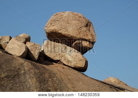 Granite boulder formation in Hampi India. Sculpture shaped by nature.