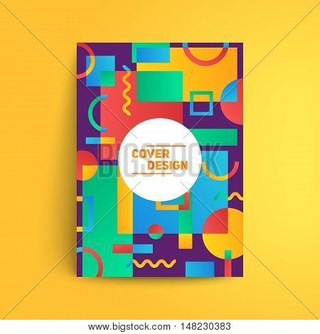 Static design poster. Simple colorful geometric shapes overlap. Eps10 template for banner,brochure,cover etc.