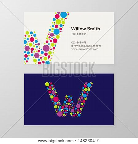 Modern letter W circle colorful Business card template. Vector design. Layered editable.
