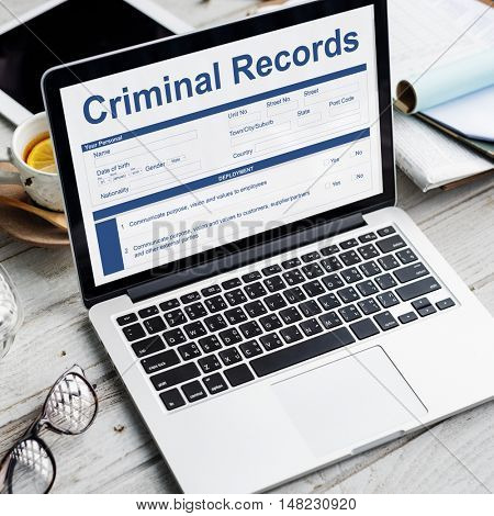Criminal Records Insurance Form Graphic Concept