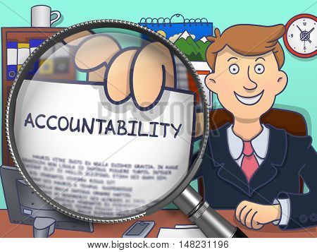 Man Showing Paper with Concept Accountability. Closeup View through Lens. Multicolor Doodle Style Illustration.