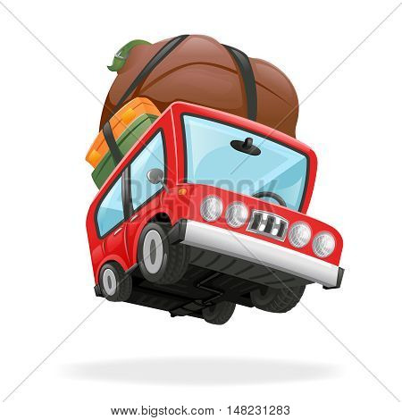 Travel Minivan Car Icon Vacation Icon Isolated Realistic Design Vector Illustration