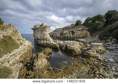 beautiful rock formations on the sea side