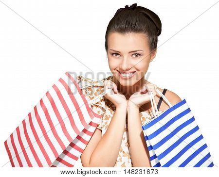 Friendly Young Woman with Shopping Bags - Isolated