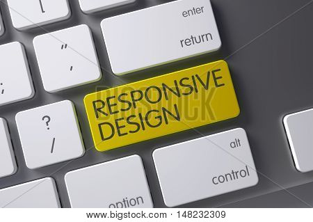 Responsive Design Concept: Modern Keyboard with Responsive Design, Selected Focus on Yellow Enter Key. 3D Illustration.