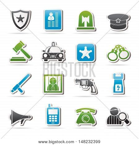 police, law and security icons - vector icon set