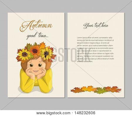 Double-sided card smiling dreamy girl in the autumn wreath of autumn leaves and flowers, vector illustration template