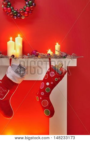 Christmas Stockings Hanging from the Fireplace