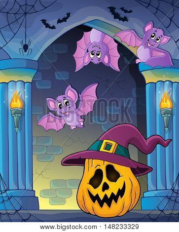 Pumpkin in witch hat theme image 2 - eps10 vector illustration.