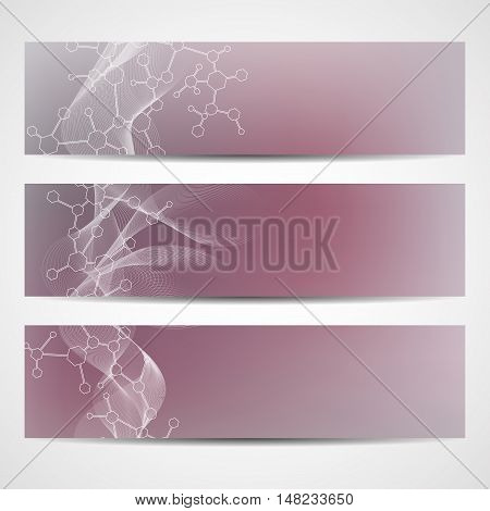 Abstract geometric banners molecule and communication. Science and technology design, structure DNA, chemistry, medical background, business and website templates. Vector illustration.