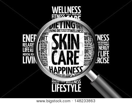Skin Care Word Cloud With Magnifying Glass