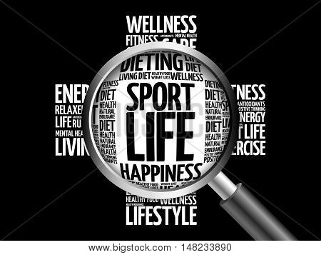 Sport Life Word Cloud With Magnifying Glass
