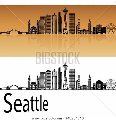 Seattle skyline in orange background in editable vector file