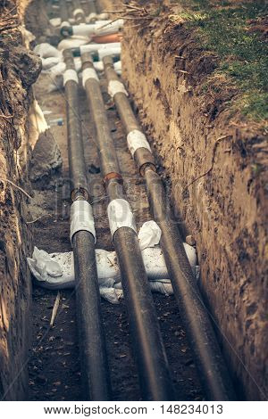 Maintenance of industrial pipes for heating water transport reconstruction of the system