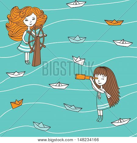 Seamless pattern in vintage style. Cute girls and paper boats hand-drawn in a cartoon style. Vector characters are drawn by hand.