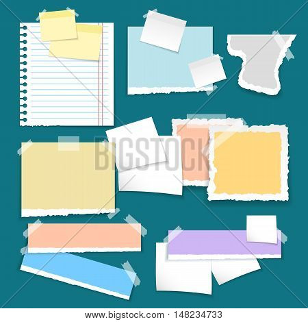 Set of different vector note colorful papers.