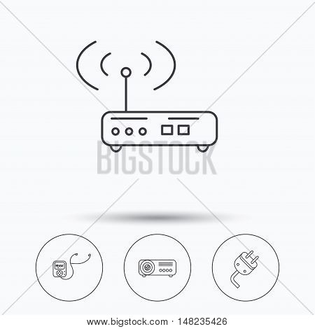 Electric plug, wi-fi router and projector icons. Music player linear sign. Linear icons in circle buttons. Flat web symbols. Vector