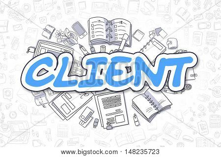 Cartoon Illustration of Client, Surrounded by Stationery. Business Concept for Web Banners, Printed Materials.