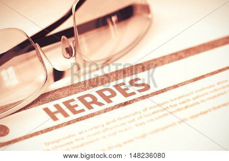 Herpes - Medical Concept on Red Background with Blurred Text and Composition of Glasses. Herpes - Selective Focus. 3D Rendering.