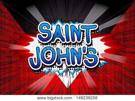 Saint John's - Comic book style text.