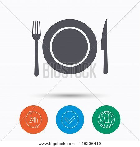 Dish, fork and knife icons. Cutlery symbol. Check tick, 24 hours service and internet globe. Linear icons on white background. Vector