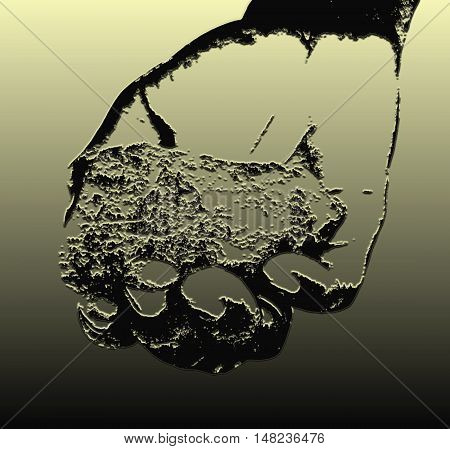 Golden Black illustration, A piece of coltan ore in Congolese hand