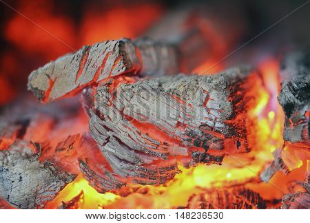 Texture fire embers with the ashes close up