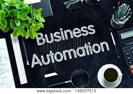 Business Automation Concept on Black Chalkboard. 3d Rendering. Toned Image.