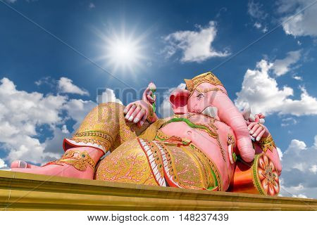 Ganesh statue  the largest in the world with the sunlight and blue sky background.