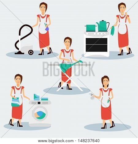 Multitasking housewife Vector illustration. Housekeeper woman ironing cleaning cooking and washing.