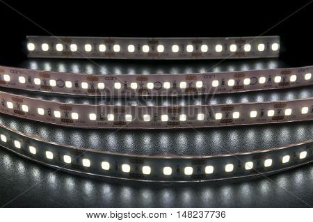 Group of LED lighting on black background.
