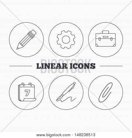 Briefcase, pencil and safety pin icons. Pen linear sign. Flat cogwheel and calendar symbols. Linear icons in circle buttons. Vector
