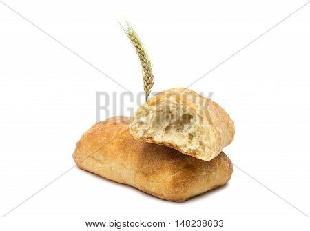 ciabatta  italian bun isolated on white background