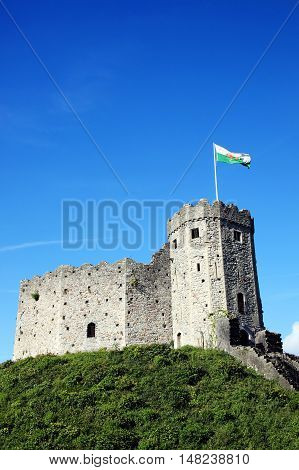 Cardiff Castle, Cardiff, Wales, UK is a ruin of a 12th century Norman medieval castle built on an earlier motte and bailey of the 11th century