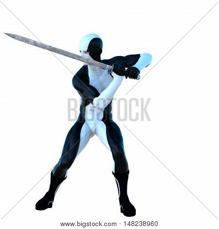 a young strong man in a white and black super suit. He stands legs apart with an iron sword in his hand. Prepare to repel the strike. 3D rendering, 3D illustration