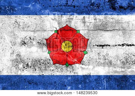 Flag Of Cesky Krumlov, Czechia, Painted On Dirty Wall