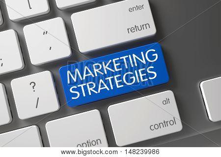 Marketing Strategies Concept Laptop Keyboard with Marketing Strategies on Blue Enter Button Background, Selected Focus. 3D Render.
