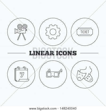 Ticket, video camera and theater masks icons. 3d glasses linear sign. Flat cogwheel and calendar symbols. Linear icons in circle buttons. Vector