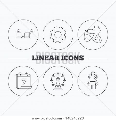 Museum, ferris wheel and theater masks icons. 3d glasses linear sign. Flat cogwheel and calendar symbols. Linear icons in circle buttons. Vector