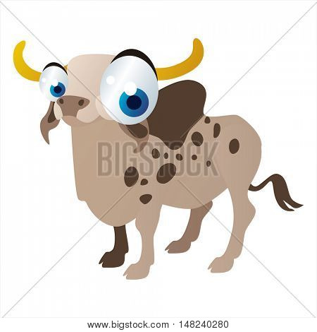 vector cartoon cute animal mascot. Funny colorful cool illustration of happy Zebu