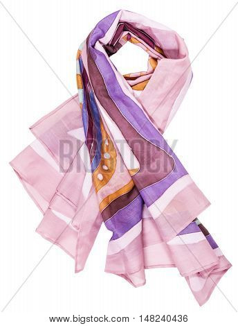 Knotted Shawl From Pink Painted Silk Batik