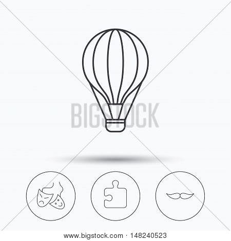 Puzzle, air balloon and theater masks. Mustache linear sign. Linear icons in circle buttons. Flat web symbols. Vector