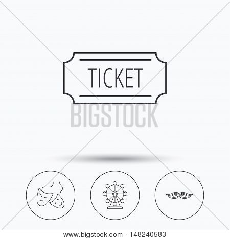 Ferris wheel, ticket and theater masks icons. Mustache linear sign. Linear icons in circle buttons. Flat web symbols. Vector