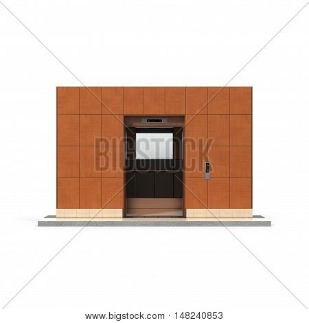 Modern elevator with opened doors isolated, 3D illustration