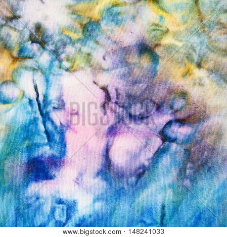 Abstract Blue And Yellow Pattern On Silk Batik