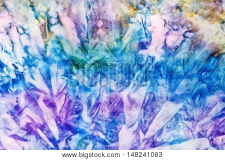 Abstract Blue And Violet Colored Stitched Batik