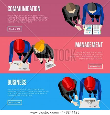 Business website templates, vector illustration. Top view of construction professionals discussing details of project with drawing. Architectural project management and communication concept
