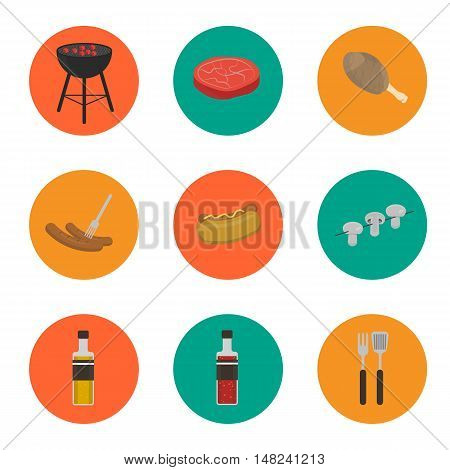 Barbecue grill round icons set, vector illustration. Charcoal kettle grill, hot dog, sausages, sauce and ketchup, mushrooms, steak and grill tools on color background. Design elements for grill menu. BBQ grill icons. Kettle icon.