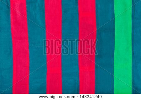 Silk Cloth With Red, Blue, Green Stripes